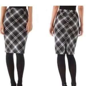 White House Black Market Plaid Pencil Skirt